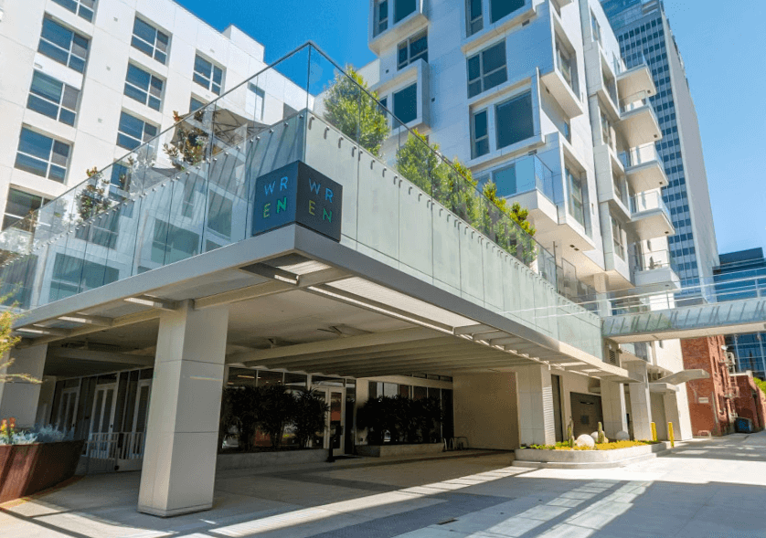 The new WREN Apartment building in Los Angeles features a designated ride-sharing location.