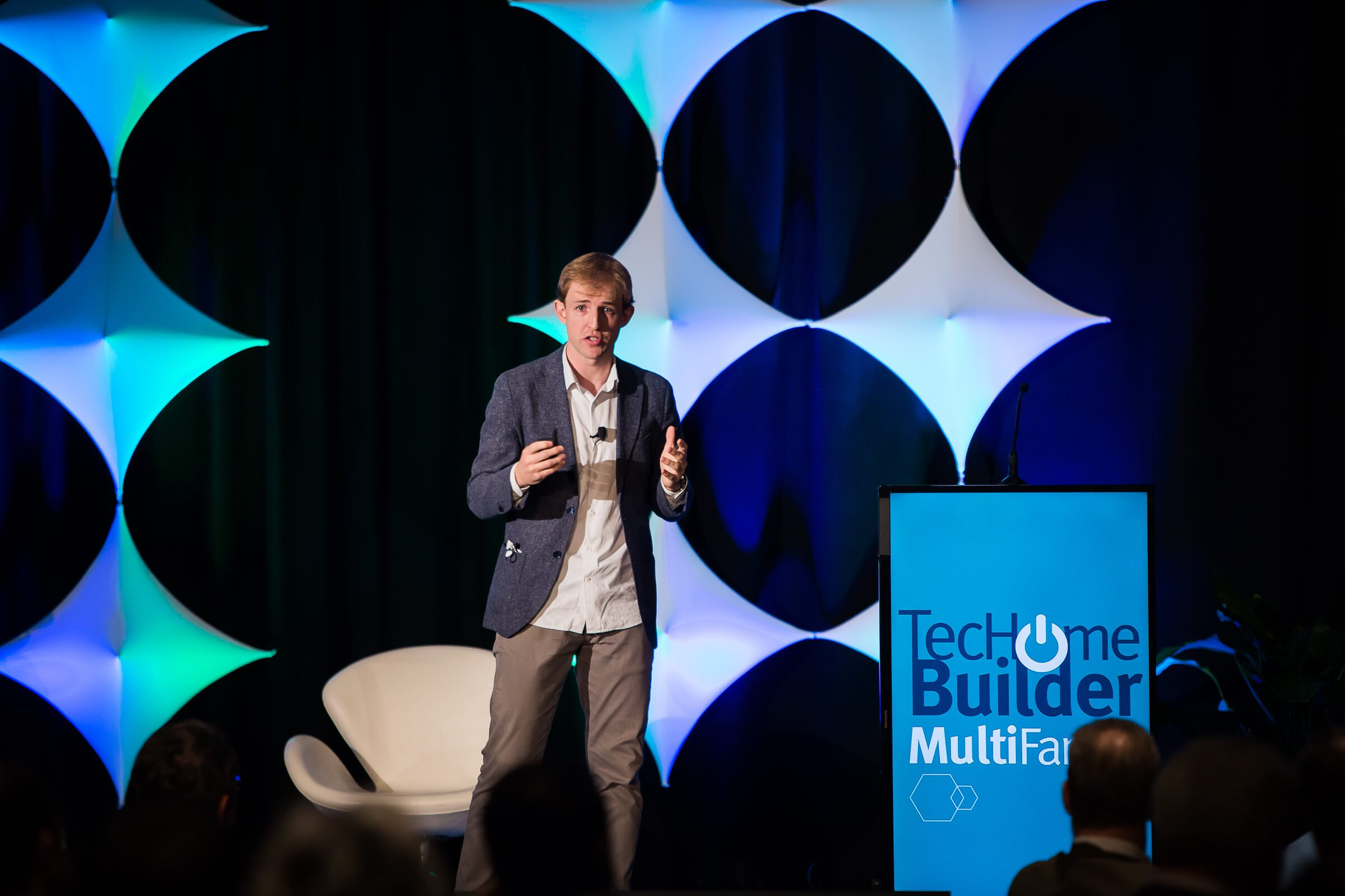 Ori Systems CEO Hassier Larrea delivers his presentation at the 2016 TecHome Builder Summit.